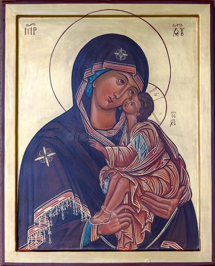 Pictogram van Maagdelijke Mary met Kind Jesus royalty-vrije stock afbeelding
