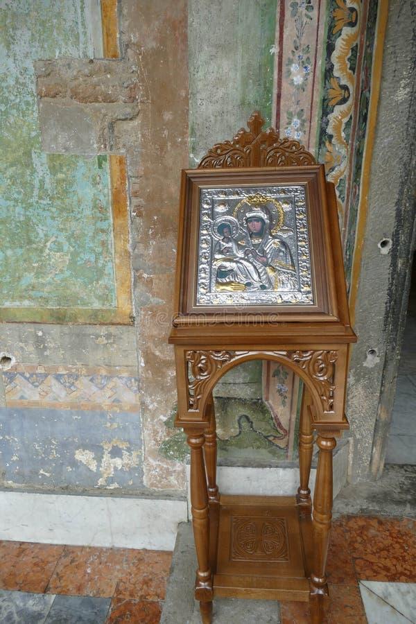 Pictogram van Madonna en het kind van Christus stock foto's