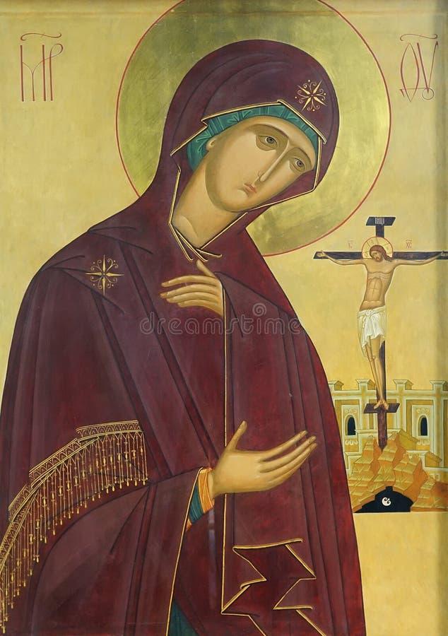 Pictogram van Moeder van God en Jesus-Christus royalty-vrije stock afbeelding