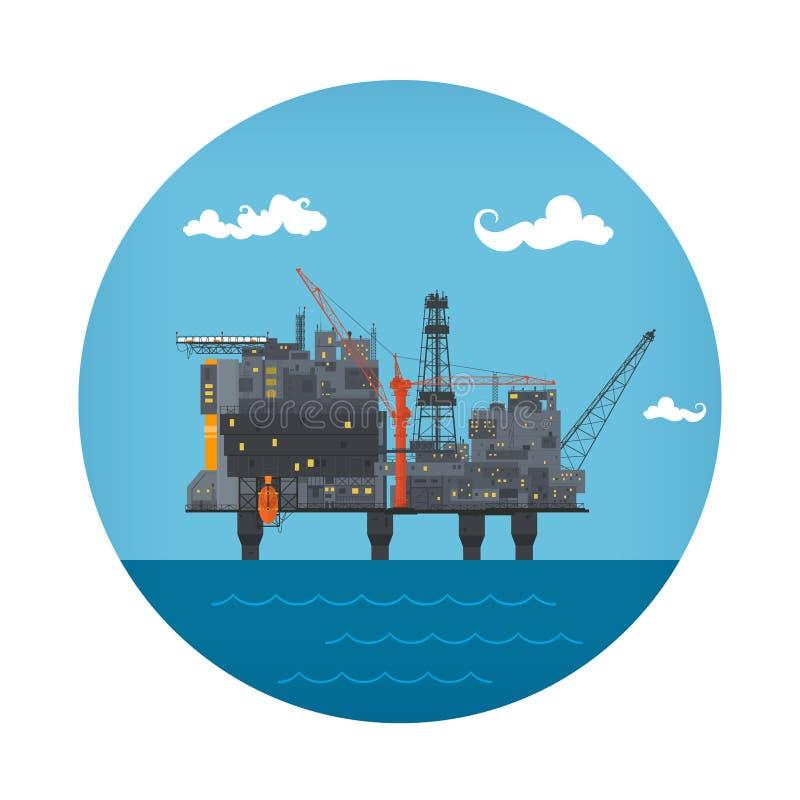 Pictogram van Overzees Olieplatform royalty-vrije illustratie