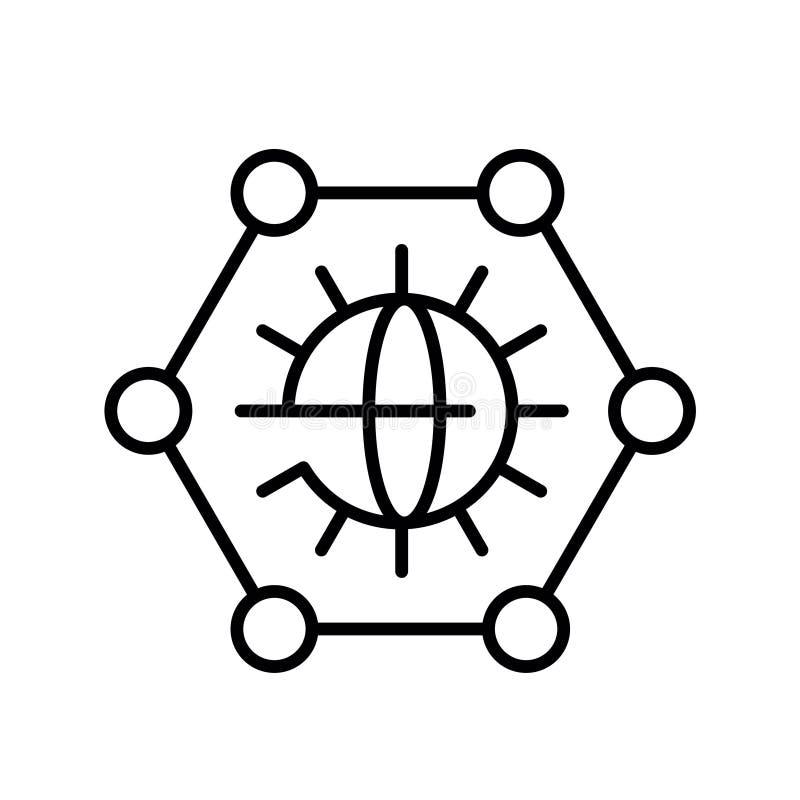 Pictogram van overzichts het klassieke grijze graphene op witte achtergrond Wetenschaps vectorillustratie stock illustratie