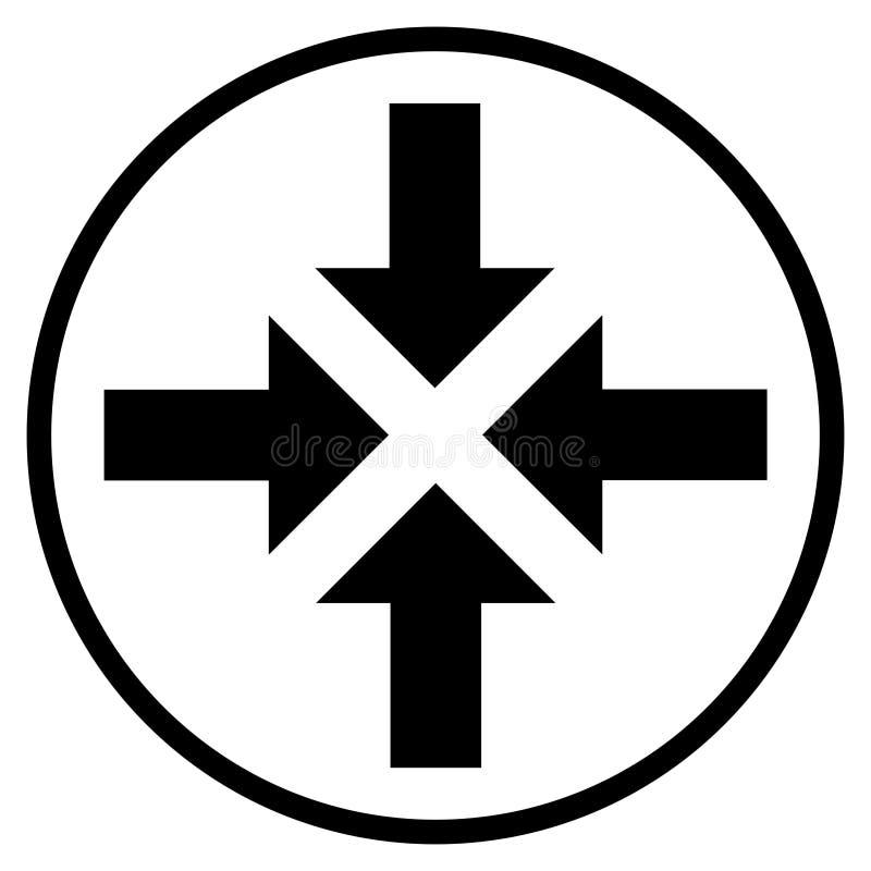 Pictogram van 4 pijlen aan centrum in zwarte cirkel royalty-vrije illustratie