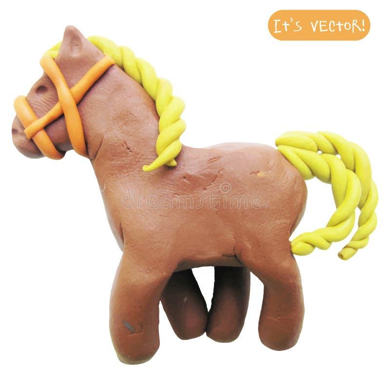 Pictogram van plasticinestuk speelgoed paard vector illustratie