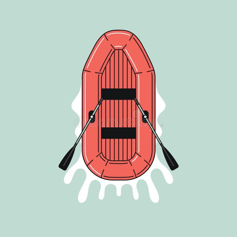Pictogram van rubberboot op water Vlak kleurenontwerp overzichtsillustratie stock illustratie