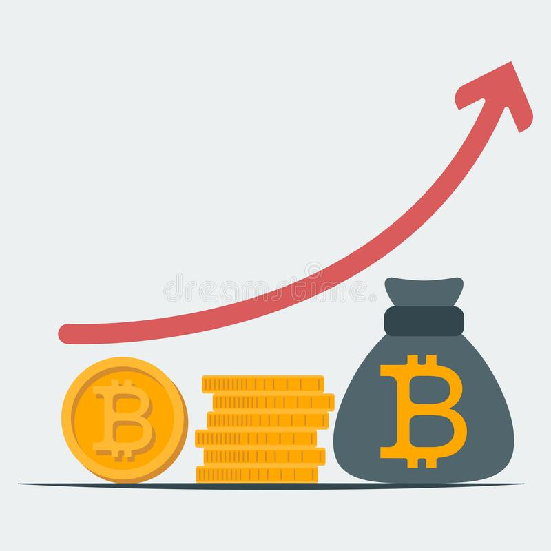 Pictogram van stijgende bedrijfsproductiviteit Begroting planning Toevloed van investeringen Begroting planning stock illustratie