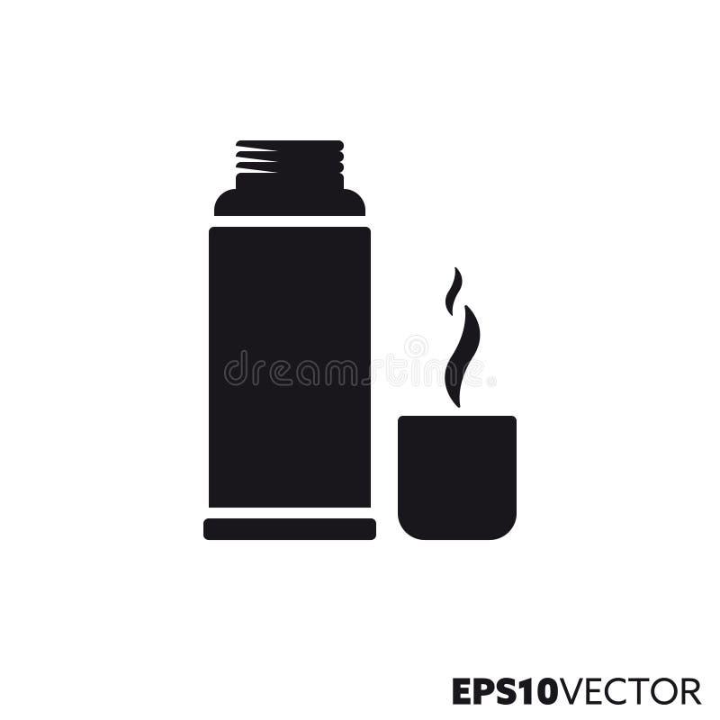 Pictogram van thermosfles het vectorglyph stock illustratie
