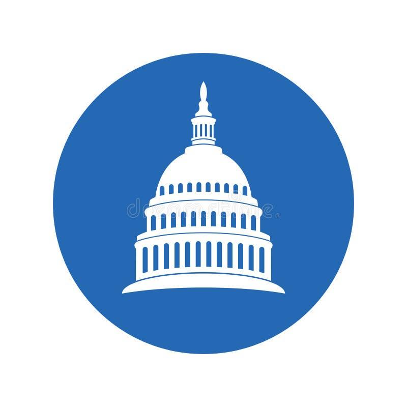Pictogram van Verenigde Staten Capitol Hill die Washington gelijkstroom bouwen vector illustratie