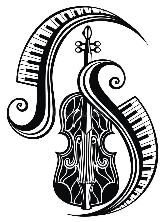 Pictogram van viool Overleg van levende muziek Vector illustratie vector illustratie