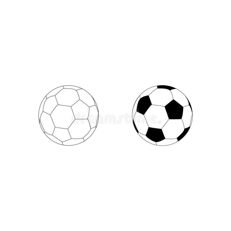 Pictogram van voetbalbal Voetbalballen Reeks van twee voetbalballen stock illustratie