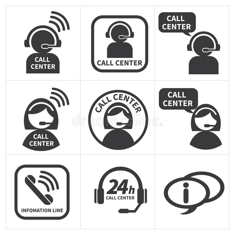 Pictogram vastgesteld call centre vector illustratie