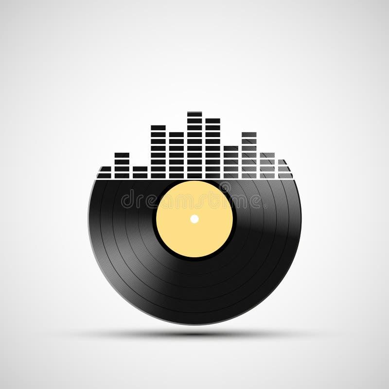 Pictogram vinylverslag met een correcte equaliser vector illustratie