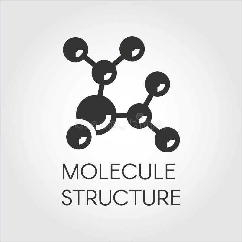 Pictogram in vlak ontwerp van abstracte moleculaire structuur Chemisch samenstellings zwart embleem Vector illustratie stock illustratie