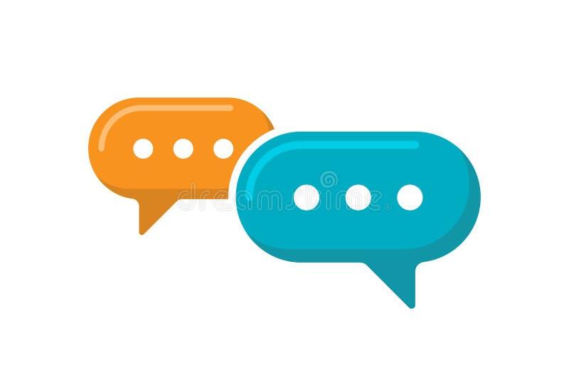Pictogram voor chatbord Het online symbool van de klantenmedewerker communicatie twee overlappende dialoogtoespraakbellen Vector  royalty-vrije stock afbeeldingen