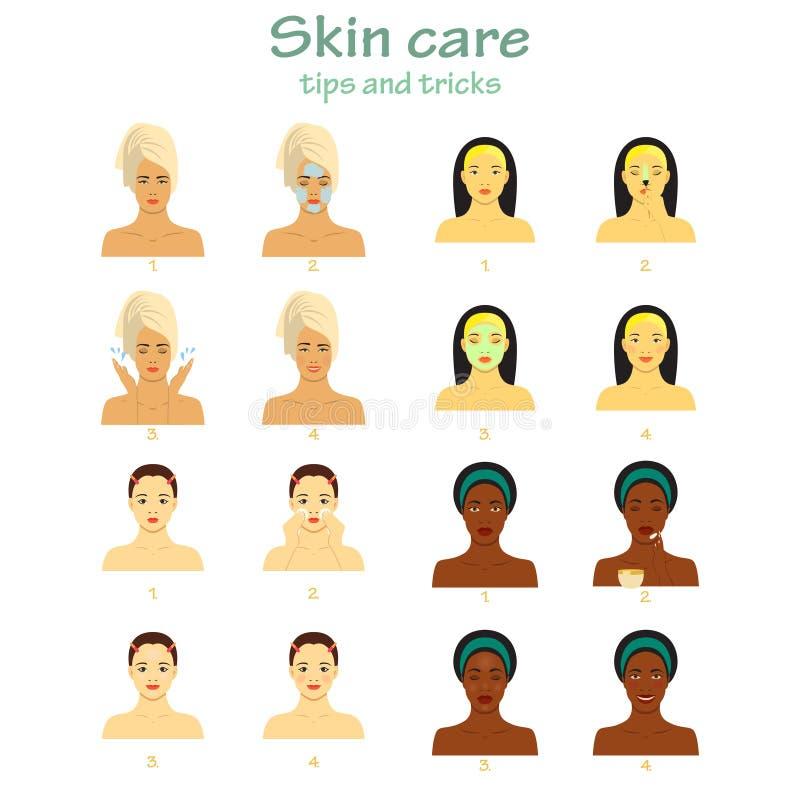 Pictogram voor infographic die skincare wordt geplaatst Jonge vrouwen die de zorg van het vier stappengezicht tonen Verschillende royalty-vrije illustratie