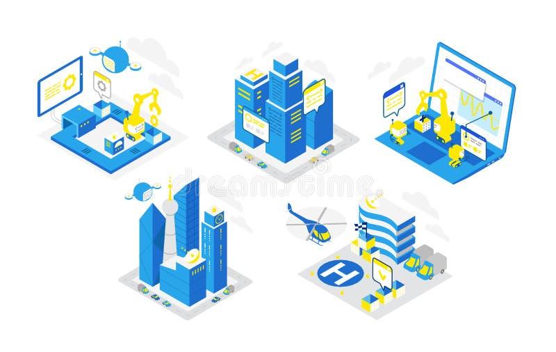 Pictogram voor software-ontwikkeling wordt geplaatst die Programmering het testen robots, helikopter en hommels Isometrische info stock illustratie