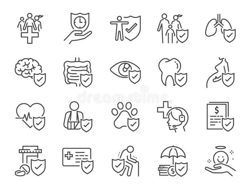 Pictogram voor ziekteverzekering instellen Inbegrepen pictogrammen als noodsituatie, veilig, risicobeheer, bescherming, gezondhei royalty-vrije illustratie