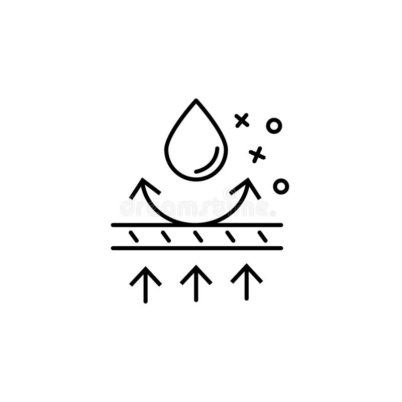 Pictogram waterbestendige textieldruppels Element van het pictogram van de eigenschappen van de stof royalty-vrije illustratie