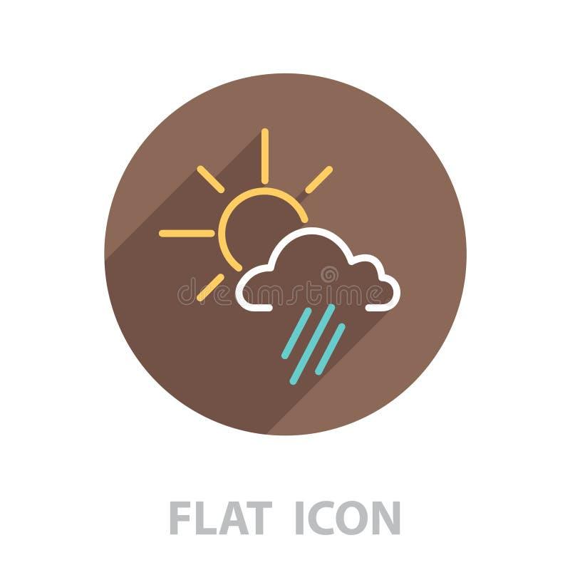 pictogram zon achter de wolk met regen stock illustratie