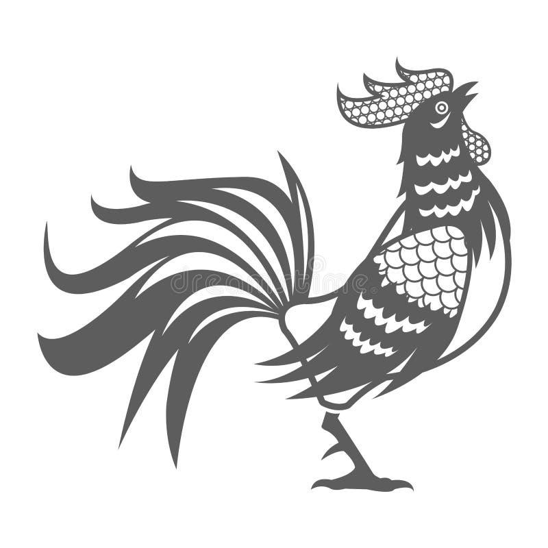 Pictograma chinês do calendário do galo do ano ilustração stock