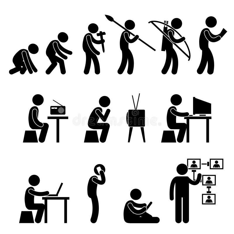 Pictograma da evolução humana ilustração do vetor