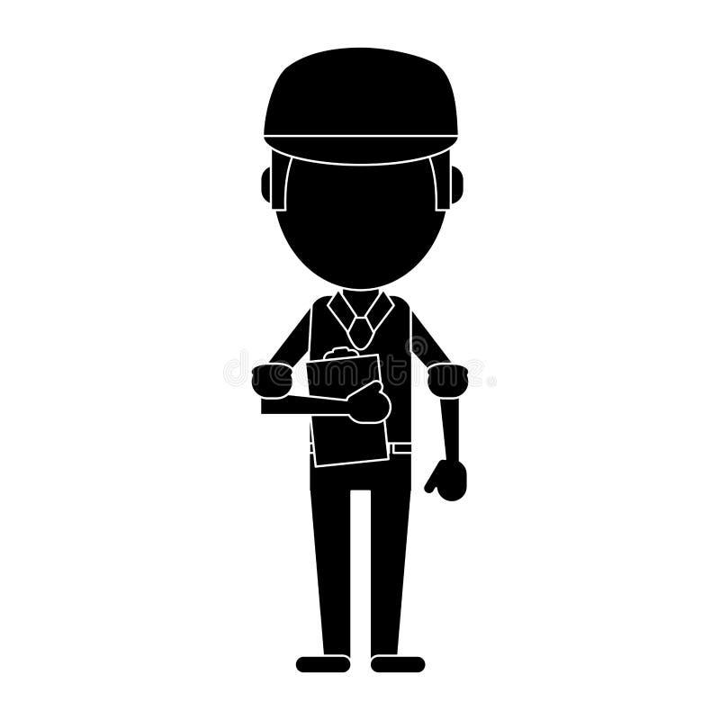 Pictograma da prancheta e do tampão do trabalhador do homem ilustração do vetor