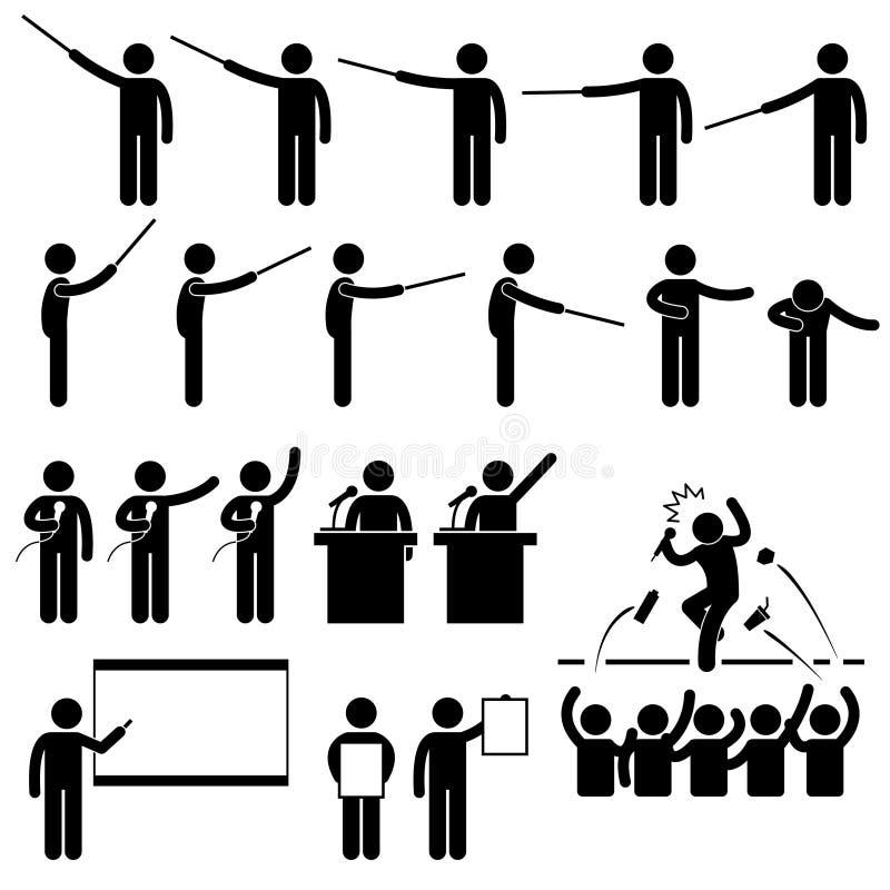 Pictograma de enseñanza de la presentación del altavoz ilustración del vector