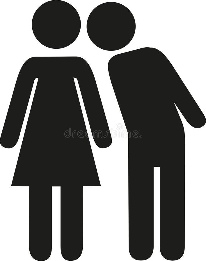 Pictograma de la mujer del beso del hombre ilustración del vector