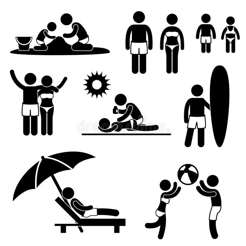 Pictograma de las vacaciones del día de fiesta de la playa del verano de la familia ilustración del vector