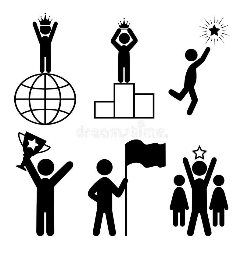 Pictograma de People Flat Icons do líder da vitória no branco ilustração do vetor