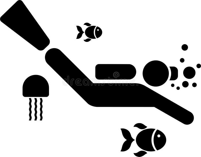 Pictograma de um mergulhador ilustração do vetor