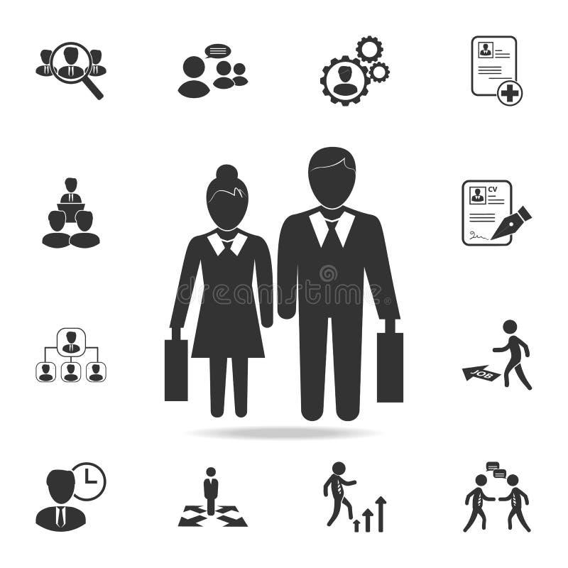Pictograma de un hombre de negocios y de un icono de la empresaria Sistema de los recursos humanos, iconos principales de la caza ilustración del vector