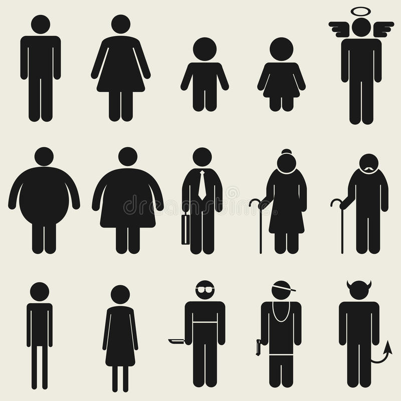 Pictograma del símbolo de la muestra del icono de la gente stock de ilustración