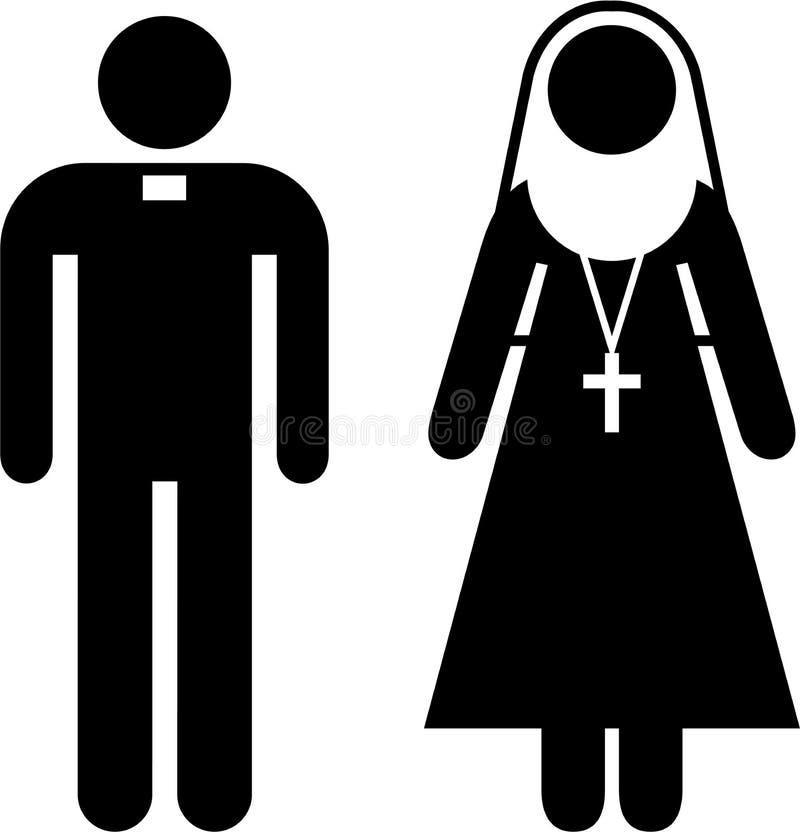 Pictograma del sacerdote y de la monja stock de ilustración