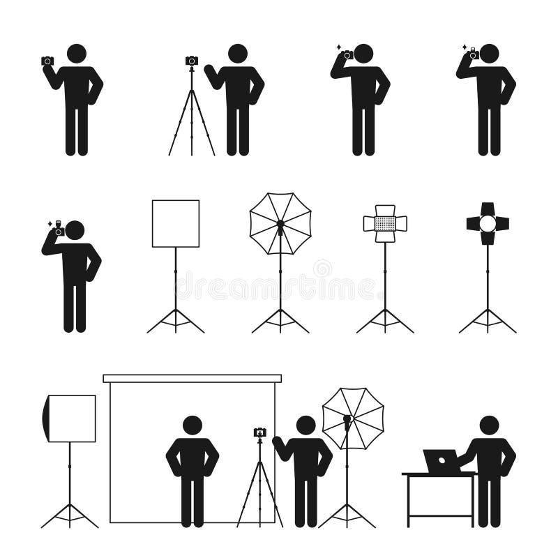 Pictograma determinado del ejemplo del icono de la historia del hombre del fotógrafo libre illustration