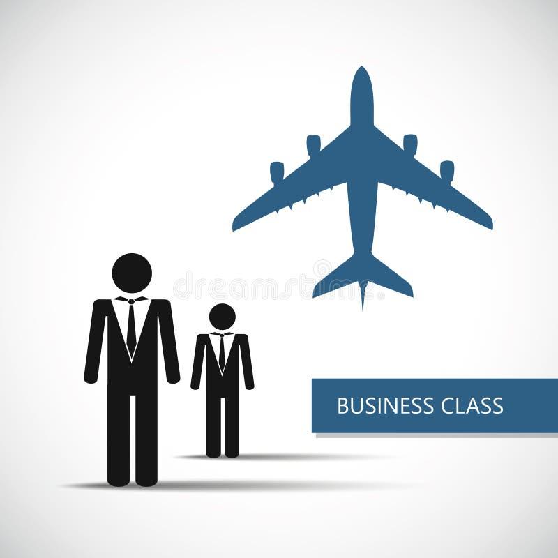 Pictograma do homem de negócios do avião da classe executiva ilustração royalty free