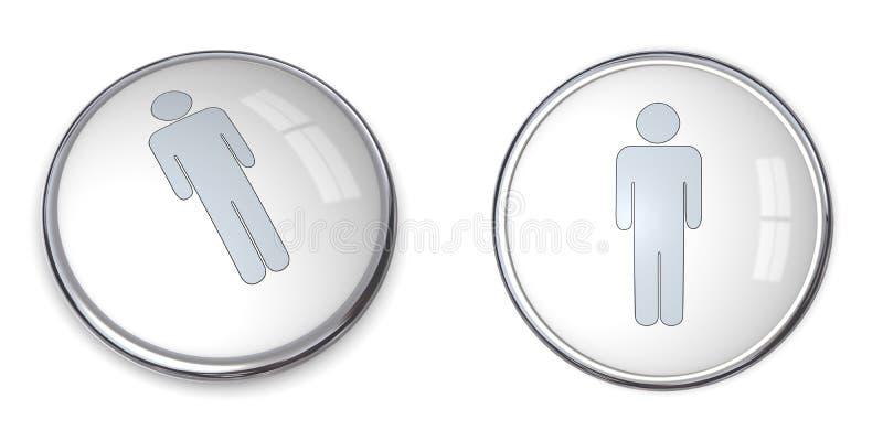 pictograma do macho da tecla 3D ilustração royalty free