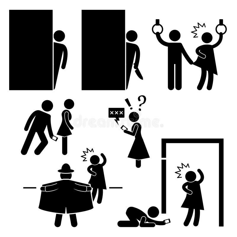 Pictograma do Molester de Physco do assediador do pervertido ilustração royalty free