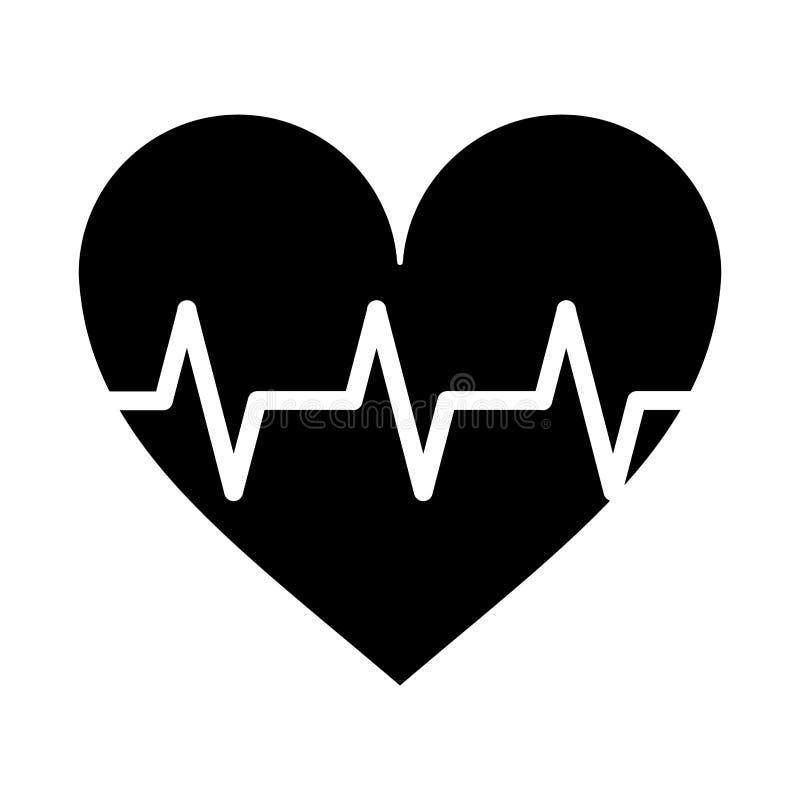 Pictograma do ritmo do pulso do coração cardio- ilustração do vetor