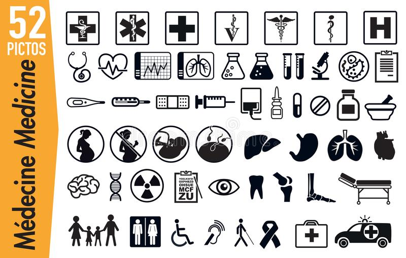 52 pictograma do signage em insetos da medicina e da saúde ilustração stock
