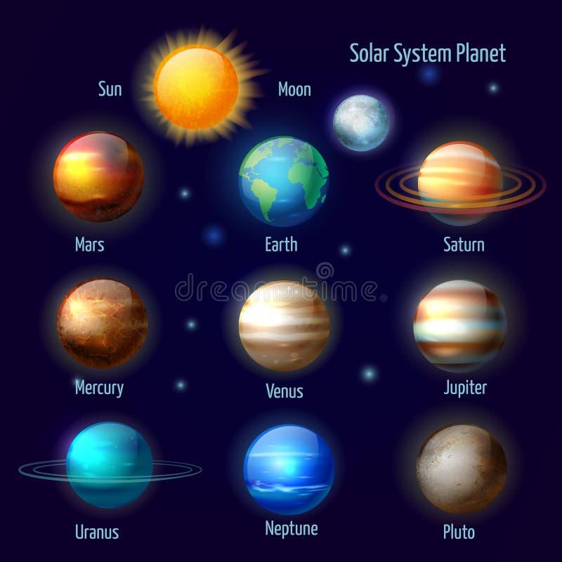 Pictograma dos planetas do sistema solar ajustados ilustração do vetor