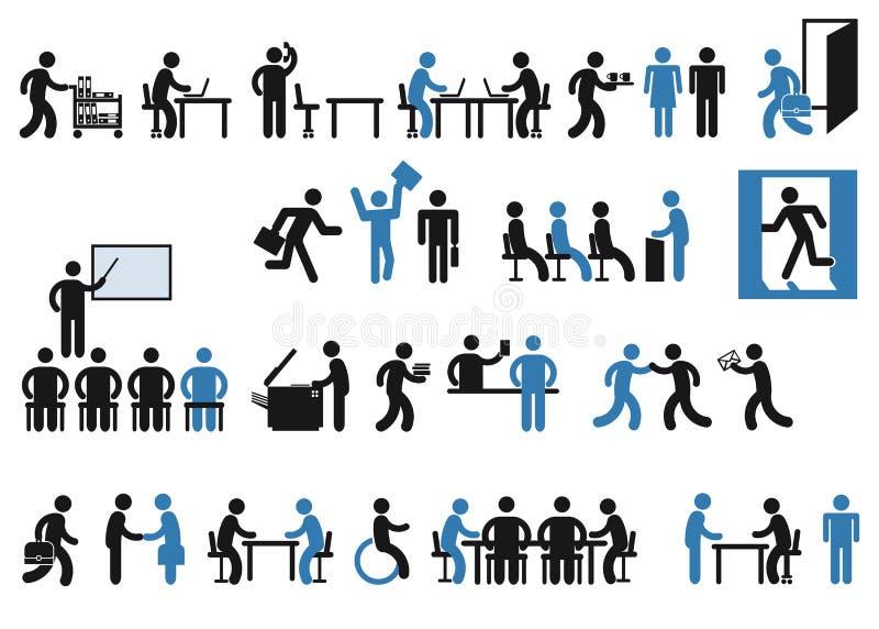 Pictograma dos trabalhadores de escritório ilustração royalty free