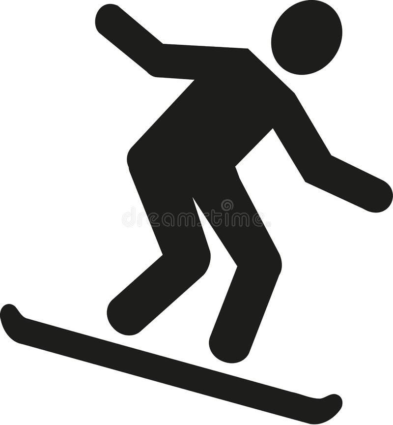 Pictograma en declive del Snowboarder ilustración del vector