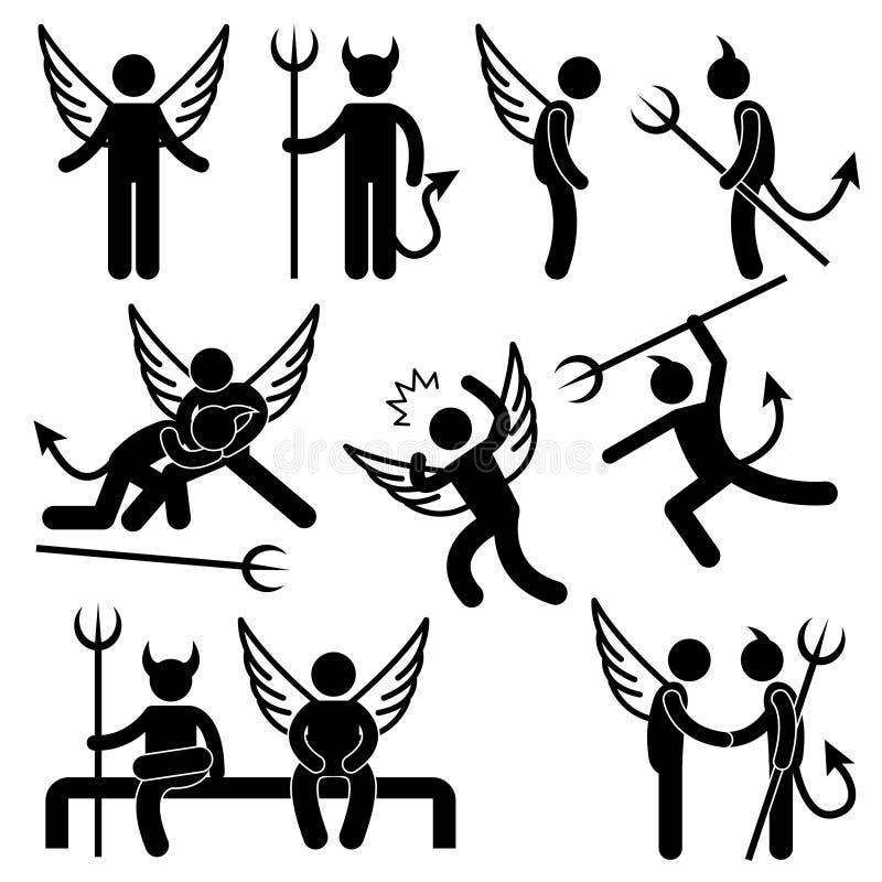 Pictograma enemigo del símbolo del amigo del ángel del diablo stock de ilustración