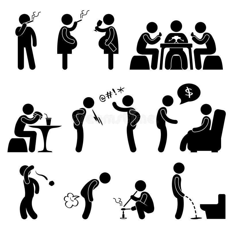 Pictograma errado ruim do estilo de vida do hábito do comportamento ilustração do vetor