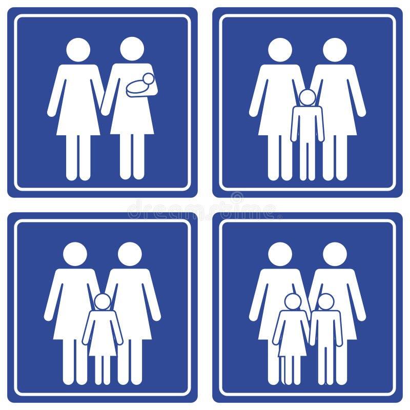 Pictograma; Familia - 2 mamas ilustración del vector