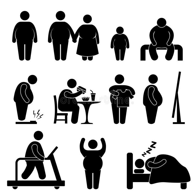 Pictograma gordo del exceso de peso de la obesidad del hombre ilustración del vector