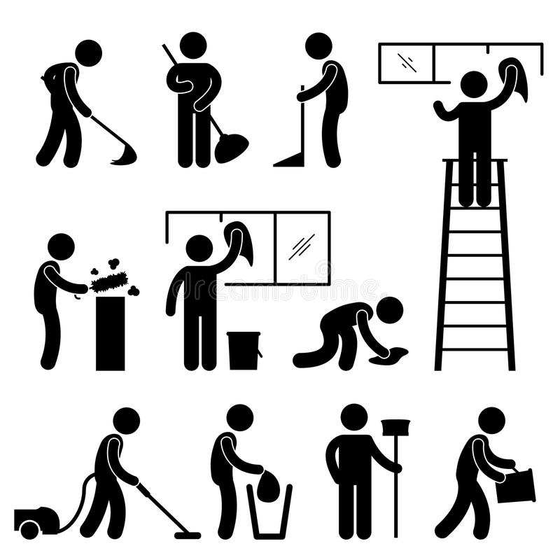 Pictograma limpo do trabalhador do aspirador de p30 do Wipe da lavagem ilustração do vetor