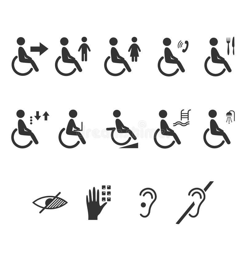 Pictograma lisos dos ícones da informação dos povos da inabilidade isolados sobre ilustração royalty free