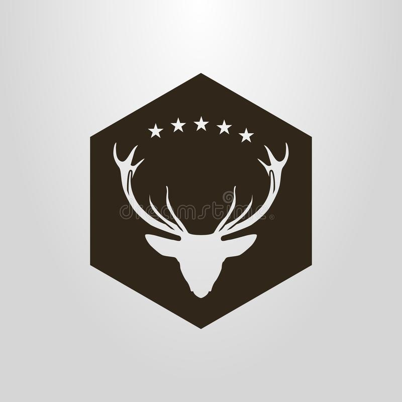 Pictograma negativo del espacio del vector simple de la cabeza de los ciervos debajo de las cinco estrellas en un marco del hexág stock de ilustración