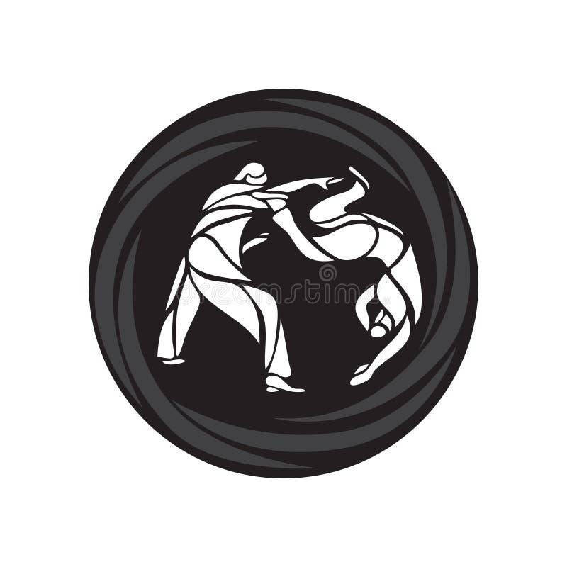 Pictograma o logotipo redondo de los combatientes del judo Icono de los artes marciales ilustración del vector
